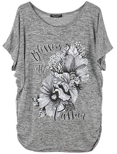 Emma & Giovanni - Sommer T-Shirt/Oberteile Blumen Kurzarm - Damen (Grau, L)