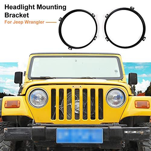 Round Headlight Mounting Bracket Rings for 2007-2018 Jeep Wrangler JK JKU (Black)