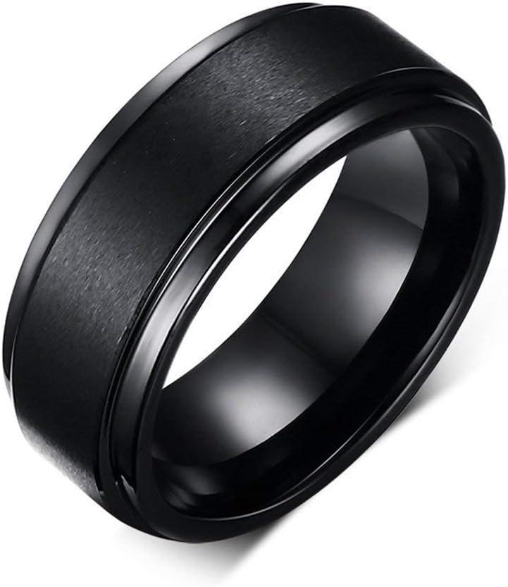 8MM Black High Polish / Matte Finish Men's Tungsten Ring Wedding Band 7-12 (7)