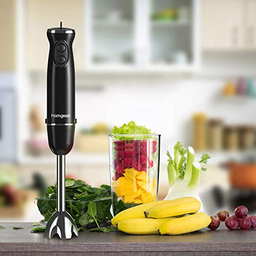 Homgeek Hand Blender, 800W 6-Speed 4-in-1 Stick Blender Set with Turbo Button/BPA-Free Food Chopper/600ml Beaker/500ml Food Processor/Egg Whisk,Black