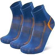 Quarter Athletic Socks 3 Pack, for Men & Women, Fitness, Trainer, Black, White (Blue/Orange, UK 6-8 // EU 39-42)