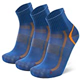 DANISH ENDURANCE Quarter Sportsocken (EU 39-42, Blau/Orange - 3 Paare)