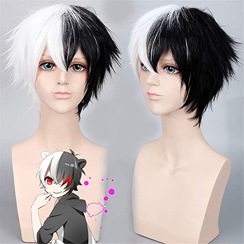 Danganronpa Monokuma Cosplay Disfraz Pelucas Danganronpa V3: Killing Harmony Dangan Ronpa Anime Pelo corto blanco y negro