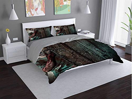 Zombie Comfort Luxurious Softest Premium Bed Sheet Set Evil-Eyes-Monster Anti-wrinkle and anti-fading (King)