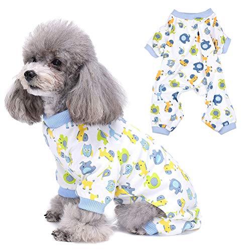 ZUNEA Pijama para Perros Pequeños Cachorro Niña Niño Gato Pijama Ropa de Dormir Lindo Caballo Mono de Algodón Estampado Chihuahua Traje de Perrito para Verano Otoño Azul L
