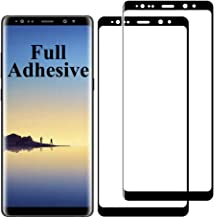 2-Pack Note8 Screen Protector Compatible With Samsung Galaxy Note 8 Tempered Glass Full Adhesive 3D Curved 9H Hardness Glue N8 Coverage Glaxay Galay Protective Film 6.3 Inch (Black)
