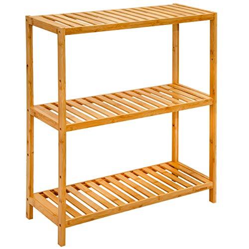 *DuneDesign Bambus Schuhregal 69x60x26cm Schuhablage Flur Holz Regal Schuhschrank für hohe Schuhe Badregal klein*