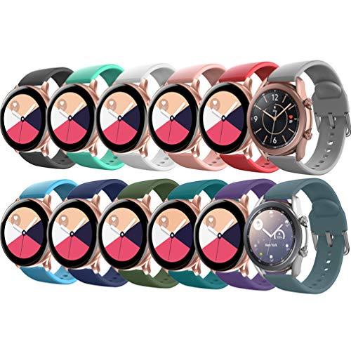 EverAct Compatible Bands for Samsung Galaxy Watch Active / Active 2 & Galaxy Watch 3 40mm / 41MM / 42mm / 44mm, Gear S2 Classic / Gear Sports (20MM)(12pack Large)