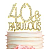 40 Cake Topper - Premium Gold Metal - 40 and Fabulous - 40th Birthday Party Sparkly Rhinestone Decoration Makes a Great Centerpiece - Now Protected in a Box