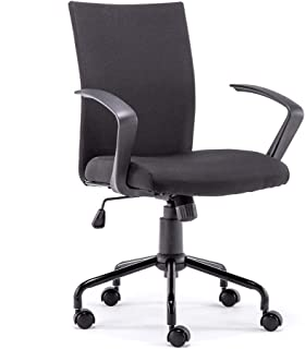 Ergonomic Office Desk Chair,Easy to Assemble Mid-Back Rolling Swivel Computer Task Chair with Armrest and Adjustable Height(Black)