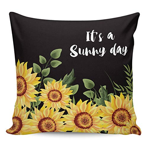 Litter Star Pillowcase Throw Pillow Covers Farm Watercolor Sunflowers and Black Decorative Square Cushion Cover Pillow Cases for Sofa Couch Bedroom Living Room It's A Sunny Day 20x20in