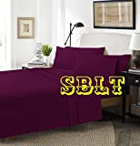 <span class='highlight'>SBL</span> <span class='highlight'>Trendz</span> Fitted Valance Sheets Polycotton T180 Percale Valances Pillow Cases Sold Separately (Pair of Pillow Cases, Plum)