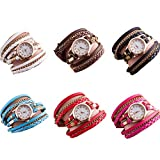 RBuy 6 Pack Multi Layers Wrap Around Leather Bracelet Quartz Watches Women Lady Girls Men Gift Wholesale