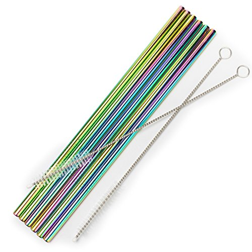 Stainless Steel Straws Iridescence Colors, Fits 30 oz Tumbler, Extra Long Reusable Ecofriendly (30oz, Straight)