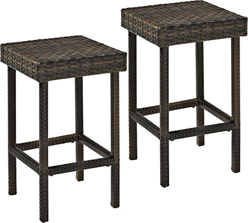 Crosley Furniture CO7107BR Palm Harbor Outdoor Wicker 24inch Counter Height Stools Set of 2 Brown