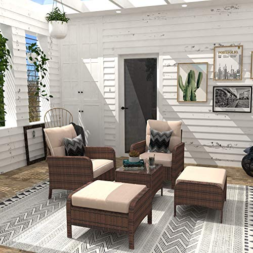 UKN 5 Pieces Patio Furniture Set Outdoor Wicker Rattan Chair and Ottoman with Cushions Side Table Brown Modern Contemporary Powder Coated Removable Weather Resistant