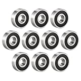 eDealMax 629-2RS Ball Bearing 9mm x 26mm x 8mm Double Sealed 180029 Deep Groove Bearings, Carbon Steel (Pack of 10)