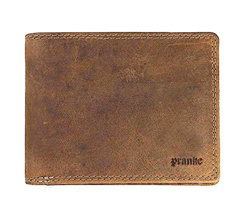 Pranke Herren Geldbörse Portemonnaie Echt Leder Querformat Vintage Olive Braun