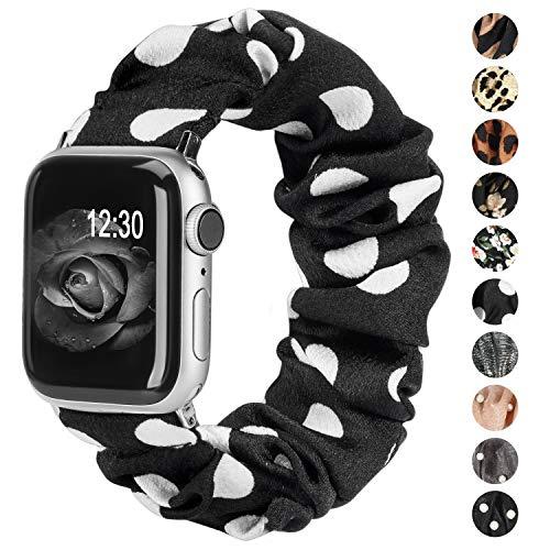 Ownaco - Pulsera compatible con Apple Watch, tela suave, patrón estampado, tejido suave, correas de repuesto para mujeres, oro rosa, bonitas y elásticas, de la serie IWatch 5/4/3/2/1