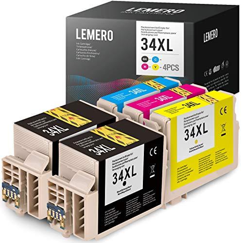 5 LEMERO Tintenpatronen Ersatz für Epson 34XL 34 XL Druckerpatronen für EPSON Workforce Pro WF-3720DWF WF-3725DWF Drucker