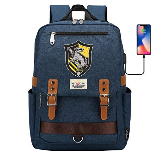NYLY Mochila Escolar para portátil de Harry Potter, Hogwarts Hufflepuff College Backpack, con Puerto de Carga USB, Mochila de Viaje de Ocio Bolsa de Libros 42 * 30 * 16CM Azul Marino