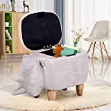 Greensen Animal Storage Ottoman, Upholstered Ride-on Footrest Stool with Vivid Adorable Animal Shape Home Decoration with Sponge Wood Legs for Kid's Room Living Room(Gray Rhinoceros with Storage)