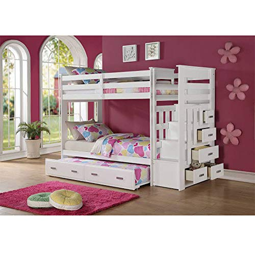 Pumpumly Bunk Bed (Twin/Twin & Storage) in White