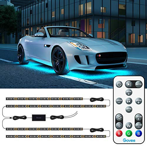 Govee Exterior Car LED Lights, RGB Underglow Car Lights with Remote Control, 32 Colors Changing, 7 Scene Mode, Music Mode, Dimmable 2 Lines Design Underlights for Cars, SUVs, Trucks, DC 12-24V