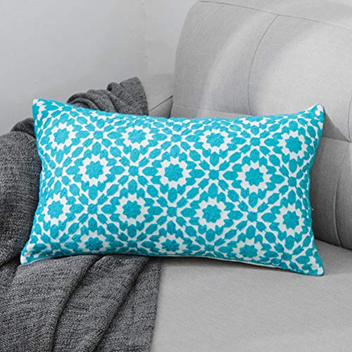 TEWENE Oblong Cushion Cover, 12x20 Inch / 30x50cm Anti-fading Cotton Linen Embroidery Sofa Throw Pillowcase Set Home Decoration for Bedroom, Living Room, Couch, Car, Patio (F-Green-1PCS)