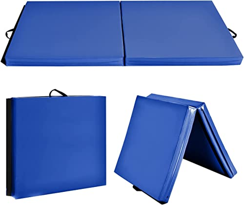 popular Giantex 6'x3'X1.6'' Gymnastics Mat Thick popular Folding Panel for for Gym, online Yoga, Exercise Mat with Hook & Loop Fasteners online sale