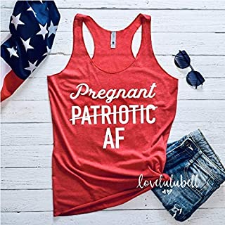Pregnant Patriotic AF Fourth of July Pregnancy Announcement Tank