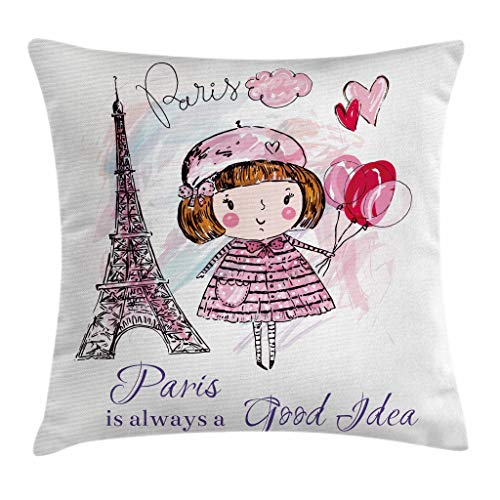 Paris Throw Pillow Cojín, Niña sosteniendo Globos, Corazones, una Nube y la ilustración de la Torre Eiffel, Funda de Almohada Decorativa Cuadrada Acnt, 45cm X45 cm, Rosa Morado