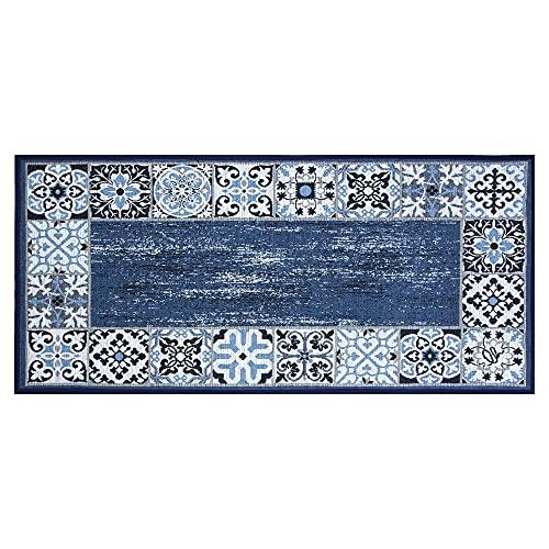 OLIVO.shop | SPRINT MAIOLICA - Tappeto da cucina con fondo antiscivolo - Blu misure assortiti (55x280 cm)