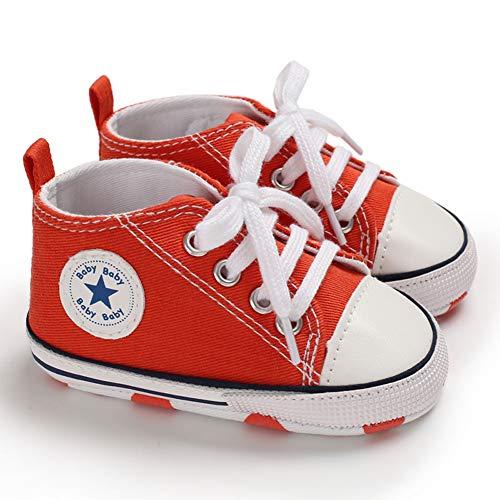 Zapatillas de Lona para Bebé Recién Nacido de 3 a 18 Meses Zapatos de Fondo Suave con Cordón Primeros Pasos de Primavera Otoño para Niños Niñas Pequeños (Rojo, 3-6 Meses)