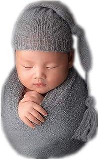 Conjunto de gorro de ganchillo para bebé recién nacido con manta de tela para fotografía de niños y niñas, color gris