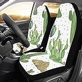 KDU Fashion Drivers Seat Cover,Precioso Verde Acuarela Oasis Cactus Protectores Delanteros Protectores De Asiento De Coche para Vehículo Auto Car 2pcs