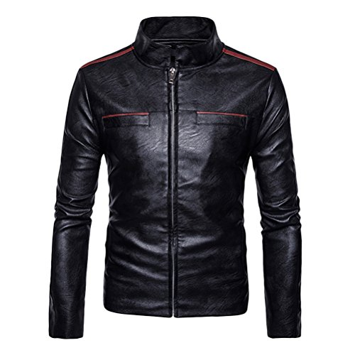 Zhhlinyuan Men's Stylish Designed Slim Fit Casual Coat Outerwear Autumn Winter Stand Collar Zipped con Cremallera PU Leather Jacket Coat Chaqueta de