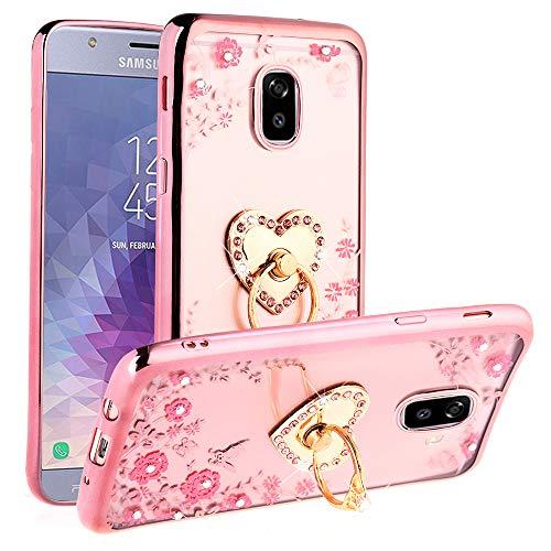 Galaxy J7 Refine Case, J7 Star, J7 V 2nd Gen, J7 2018 (J737) Case, Glitter Crystal Heart Floral Series - Slim Luxury Bling Rhinestone Clear TPU Phone Case with Ring Stand - Rose Gold