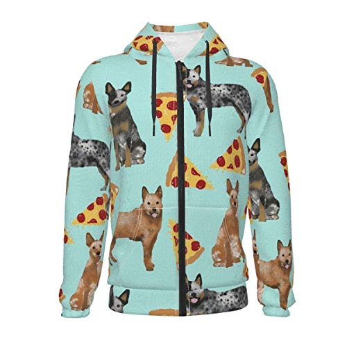 JZDACH Children Hoodies for Exercise Hiking Date, Australian Cattle Dog Pizzas Mint Green Hooded Sweatshirt, Long Sleeves Sports Outwear with Pocket