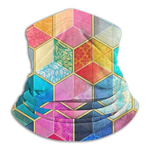 asdew987 Cubos de panal de abeja bohemios de cristal colorido patrón hexagonal polaina para el cuello, sombrero, máscara de sol, bufanda mágica, bandana, pasamontañas, diadema para deportes