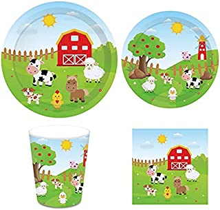 Farm Animals Party Supplies,Cow Paper Plates include Dinner Plates,Dessert Plates,Cups,Napkins,Straws for Farm Animals The...