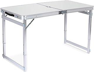 uyoyous キャンプ テーブル アルミ 折りたたみテーブル キャンプ120×60×(57/70/80)cm 3WAY 自由に高さ調整可能 アウトロール ドアテーブル パラソル 穴付き ピクニック キャンプ 用 軽量 取っ手付き (白い)