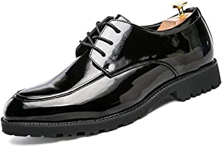 AiHua Huang Oxford Shoes for Men Formal Shoes Lace Up Style Patent PU Leather Outsole Round Toe Casual Business (Color : Black, Size : 5.5 UK)