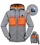 MYHEAT Heated Hoodie for Men Electric Sweater Heavyweight Fleece Sweatshirt with Battery (Gray,XXL)