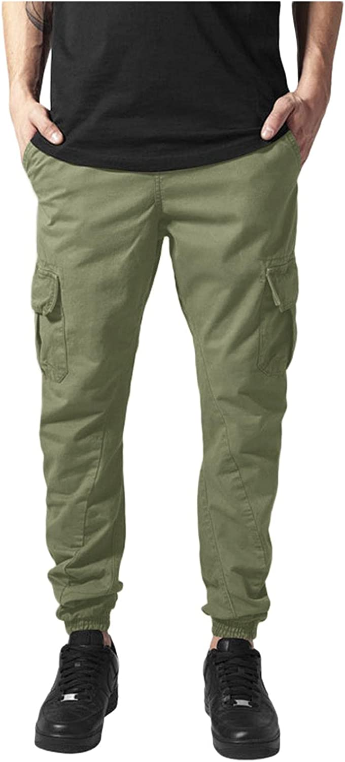 Huangse Cargo Pants for Men Joggers Trousers with Pockets Relaxed Fit Tactical Pants Water Ripstop Work Pants
