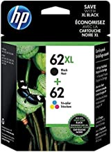 HP 62XL Black High-Yield and 62 Tri-Color Ink Cartridges, 2-Pack (N9H67FN)
