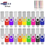 HKUU 16GB Flash Drive Bulk USB Drive 20 Pack Bulk Thumb Drives Jump Drive with Led Indicator,Memory Stick Zip Drive for Data Storage,Photo/Video Backup(Multicolor)