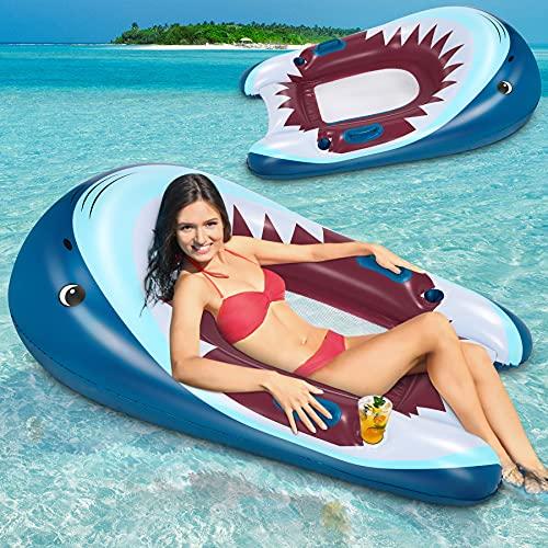 Flyfun Colchoneta Hinchable Piscina Flotadores Piscina Hamaca de Agua Hamaca Flotante Inflable Juguetes Piscina Playa Forma de Tiburón 90x150cm