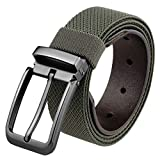Samtree Nylon Stretch Belt for Men, Elastic Casual Leather Tab Web Belt with Square Removable Pin Buckle(Army Green)