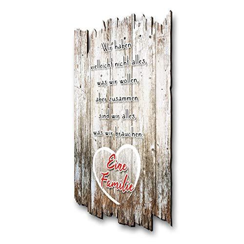 Kreative Feder Wandbild Familie - Holzschild mit Spruch und Motiv - Shabby Chic Landhaus Stil - Wand Deko für Zuhause Familie und Freunde 30x20cm
